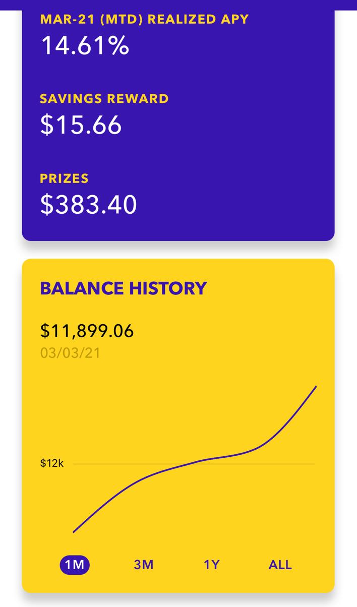 Savings rewards, prizes, and balance history on Yotta app