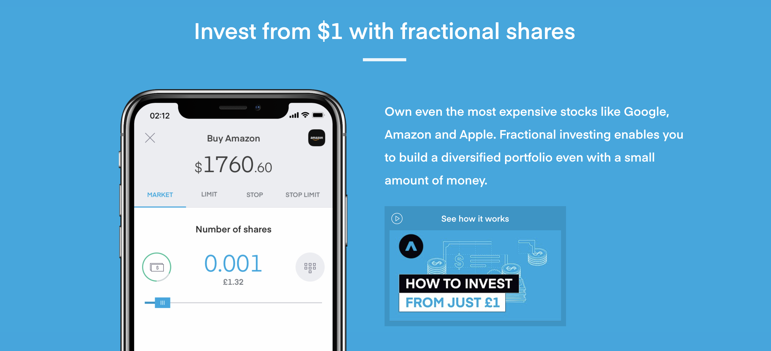 Trading 212 offers fractional shares, meaning you can invest in expensive shares with as little as $1. This makes the platform extremely flexible and a great low cost option. Image from Trading212.com