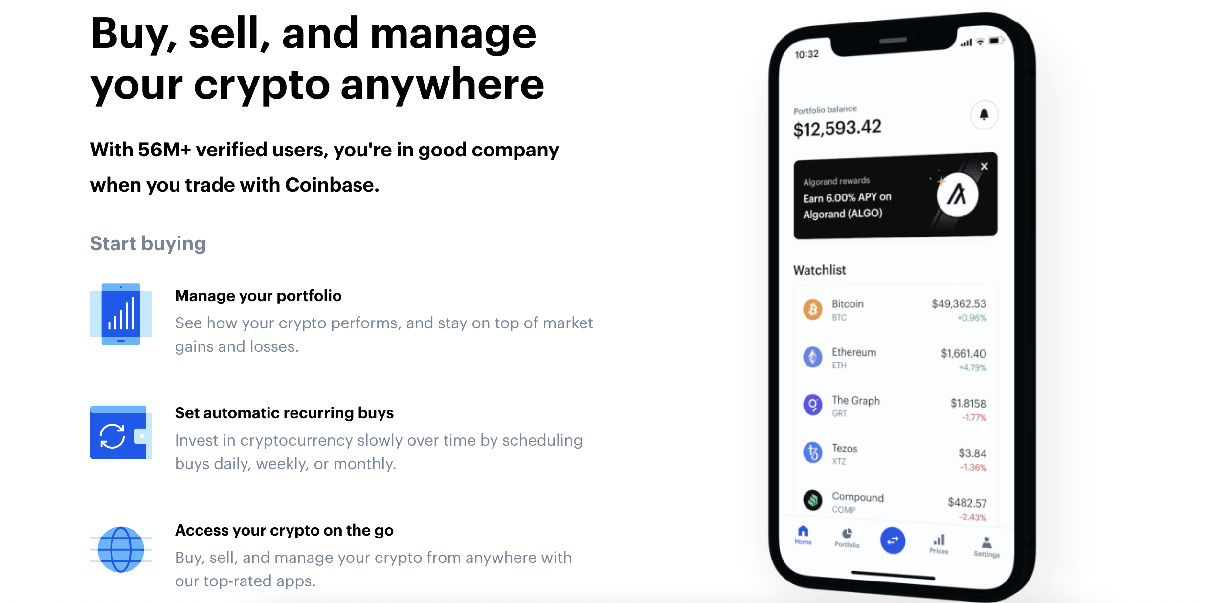 A screenshot from coinbase.com that shows the homescreen of the app, including the portfolio balance, rewards, and coins you've added to your watch list. According to the image, the main features of the app are managing your portfolio, setting automatic recurring buys, and accessing your crypto on the go.