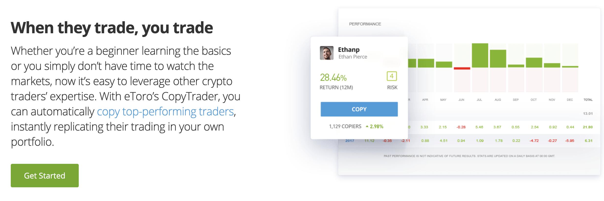 A screenshot from eToro.com explaining how copy trading works.