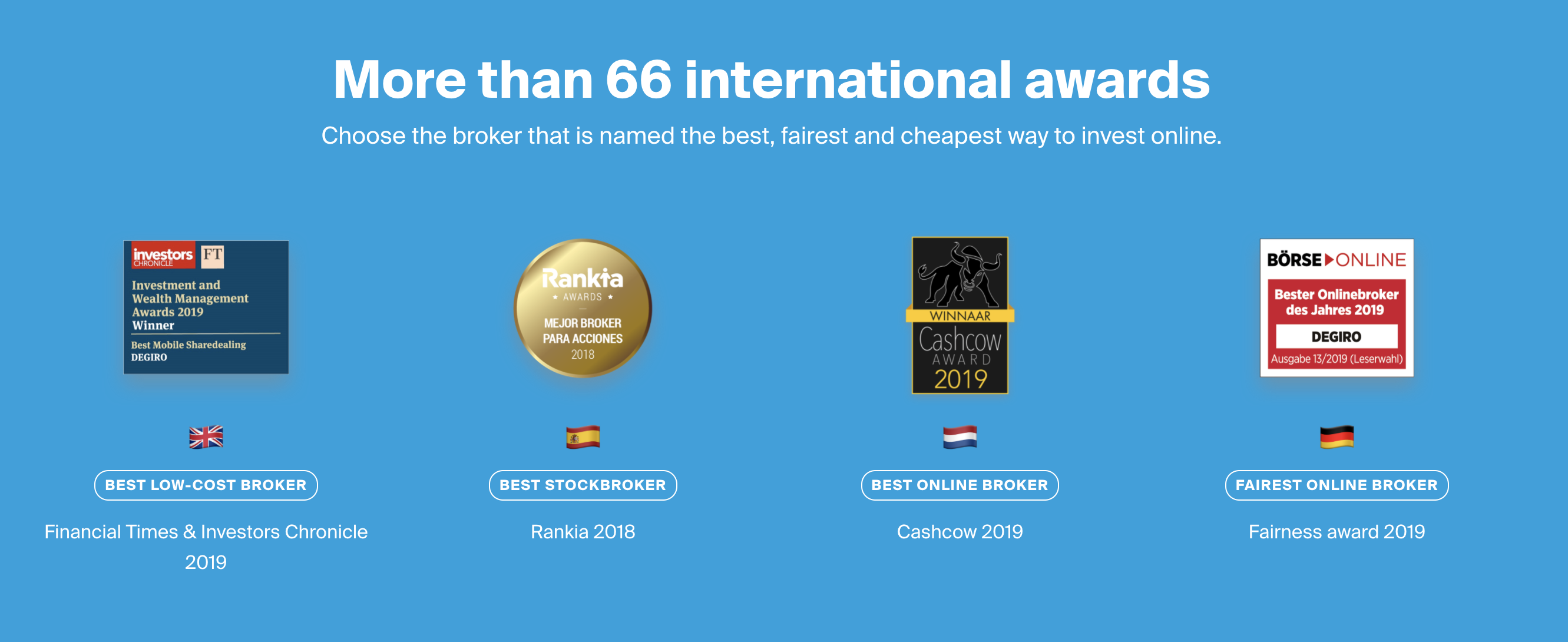 An image from degirogroup.com showing all the awards the company has won for best broker across Europe.