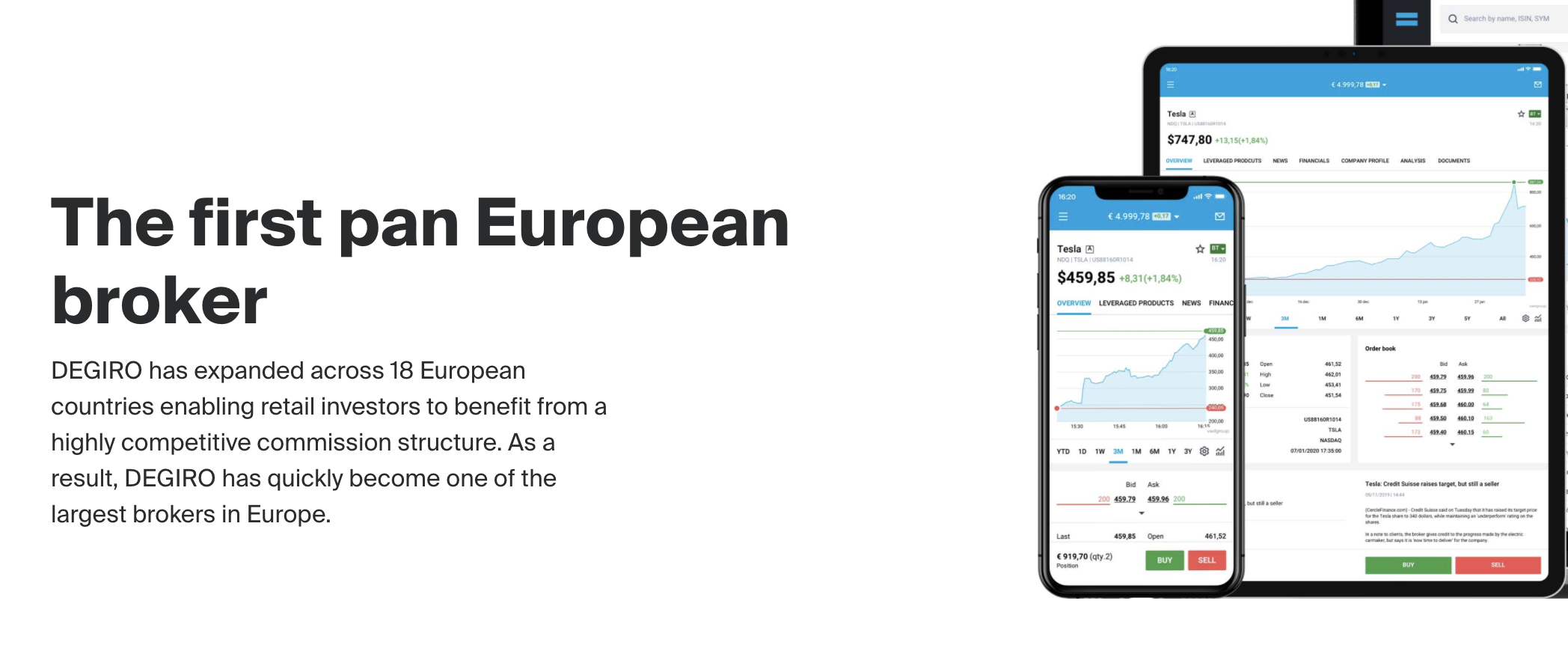 An image from degirogroup.com explaining that they were the first pan European broker. Images of the mobile and web versions are also shown.