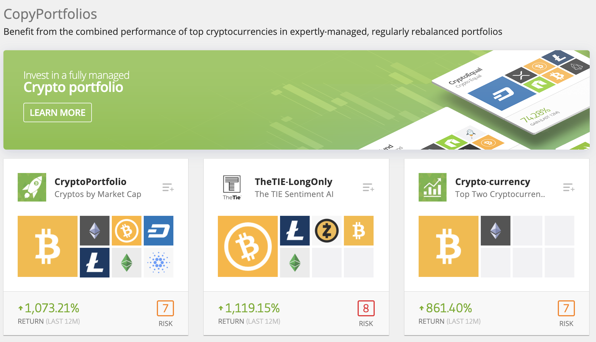 Screenshot from etoro.com showing the cryptocurrency Copy Portfolios that are available through the platform. These are kind of like ETFs made by eToro. They are fully managed and automatically rebalanced.