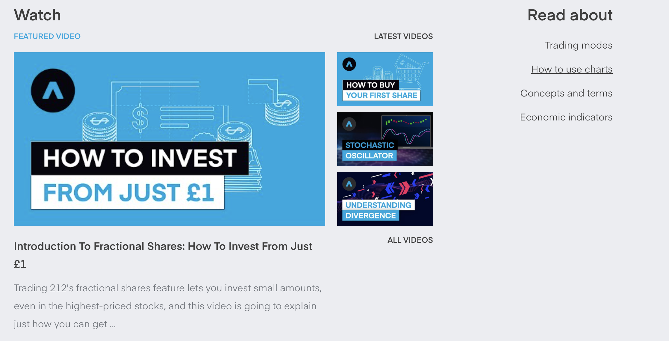 """Screenshot from trading212.com showing some of the videos and educational tools the platform provides. The video says """"how to invest with just $1."""""""