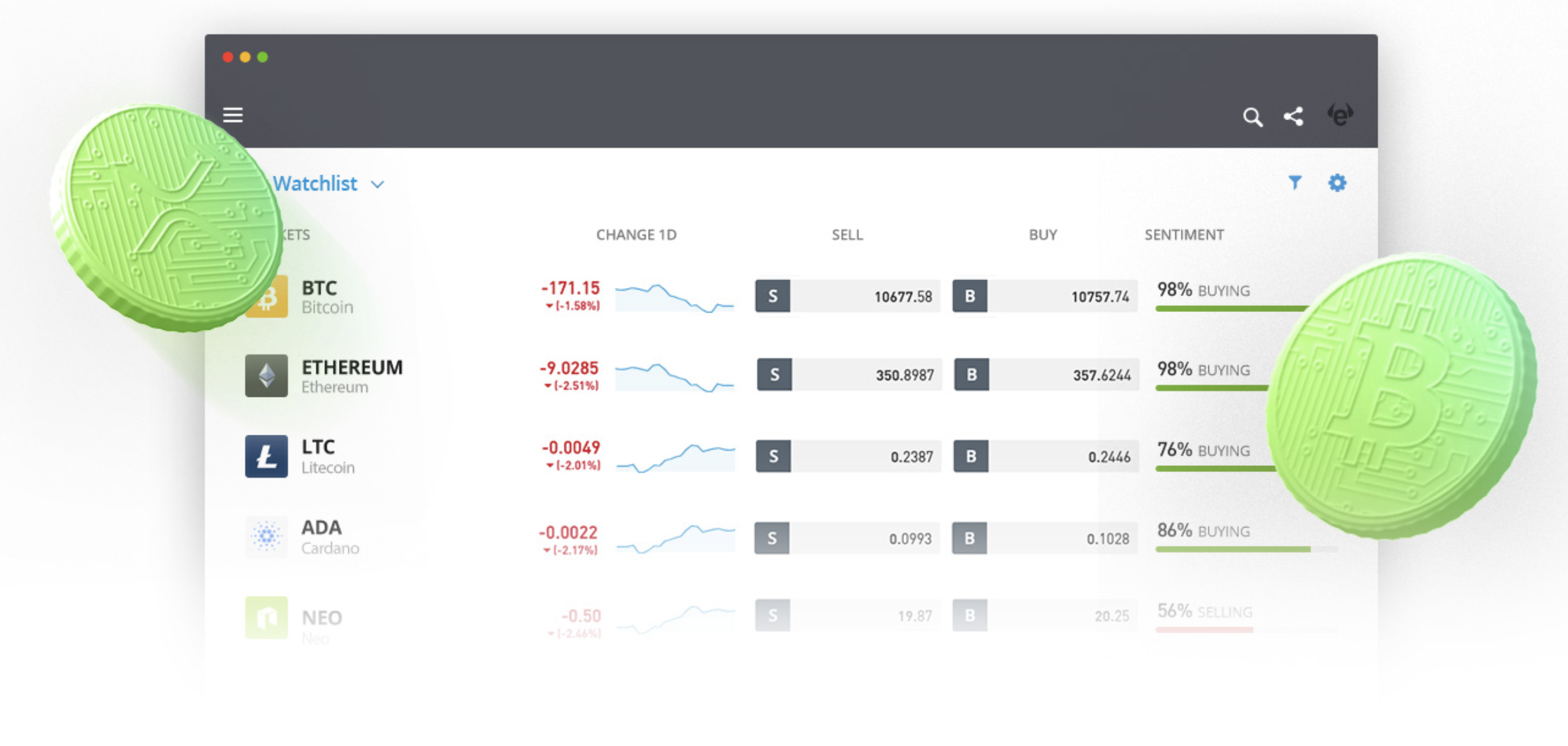 An image from eToro.com showing the cryptocurrency trading interface on the web version.