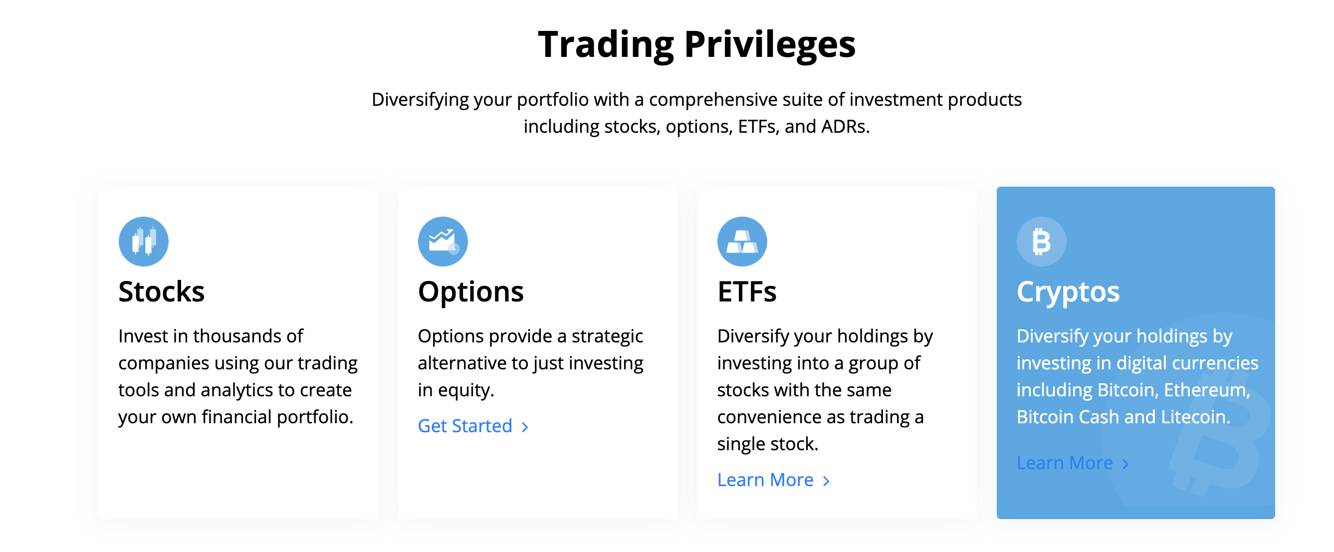 Webull offers four types of assets to trade: stocks, options, ETFs, and positions of crypto. Image from webull.com