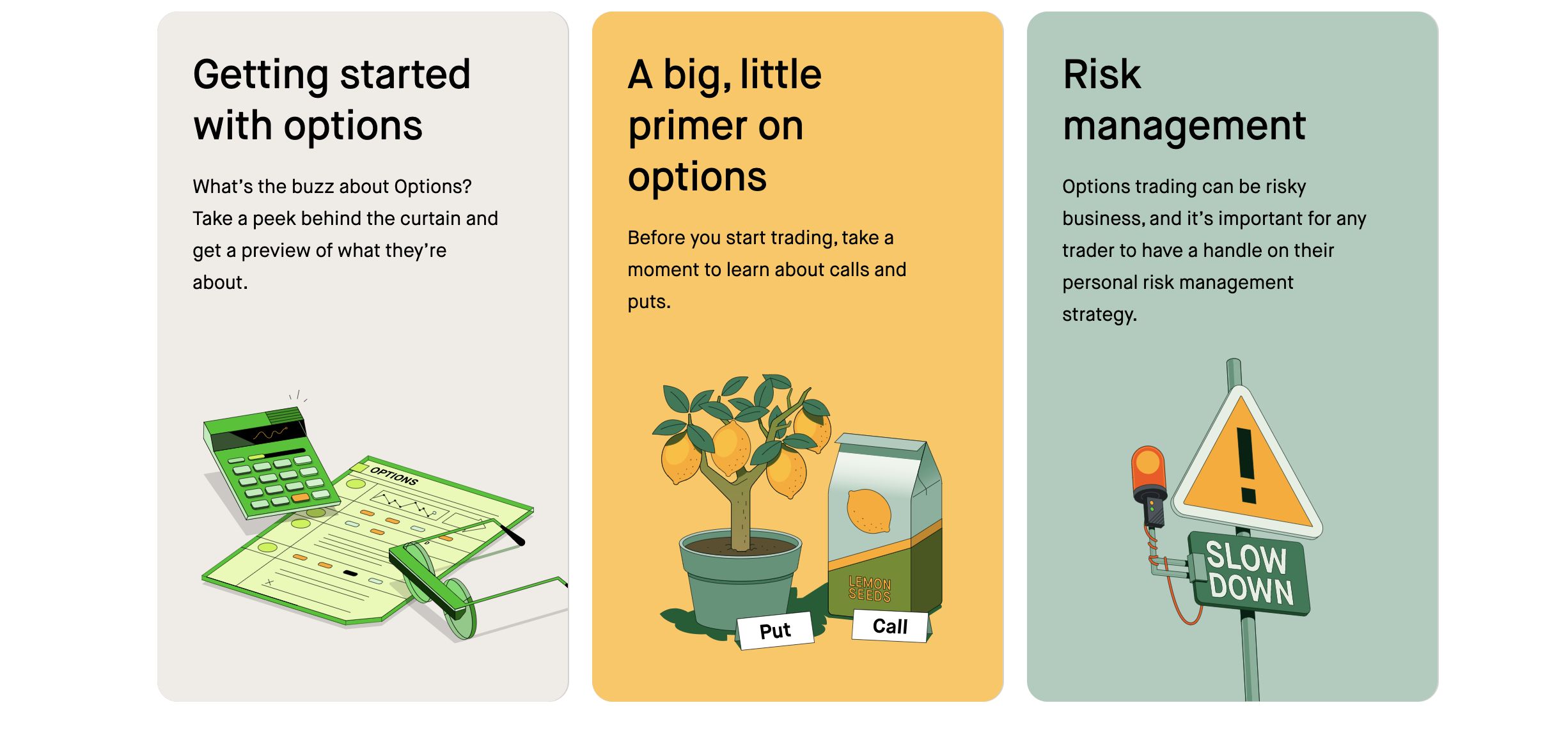 Robinhood offers educational tools for investors just learning about the markets. This image shows information on options. Image from robinhood.com