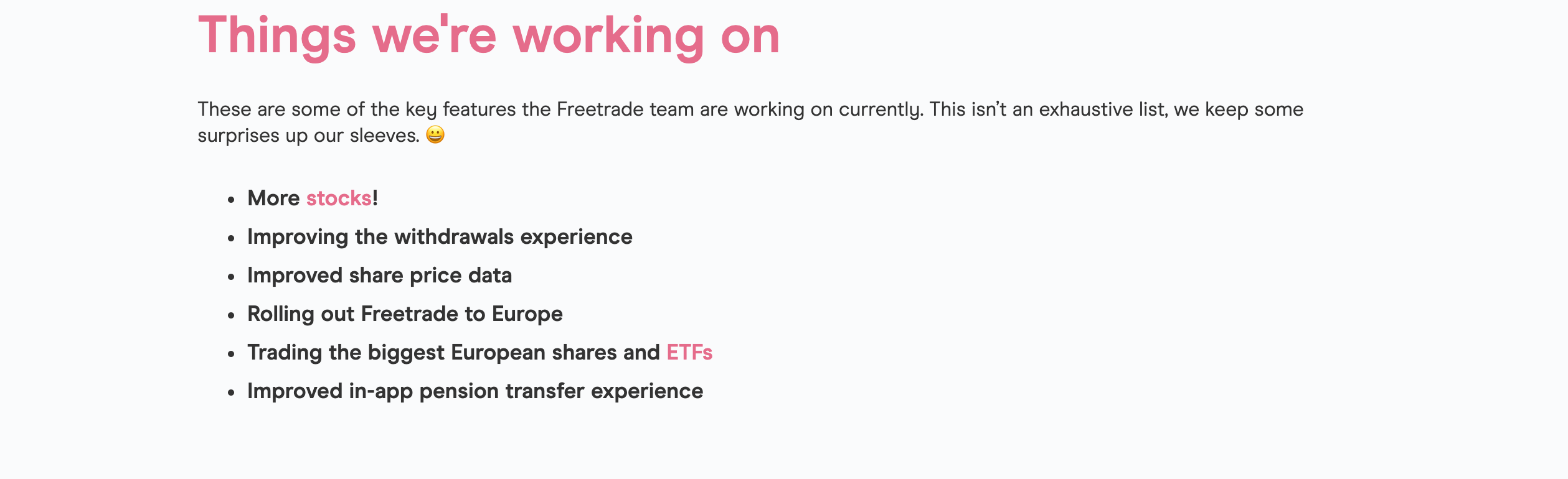"""We love the """"things we're working on"""" section of the Freetrade website. We like how transparent and open this company is when it comes to their growth goals. Image from freetrade.io"""