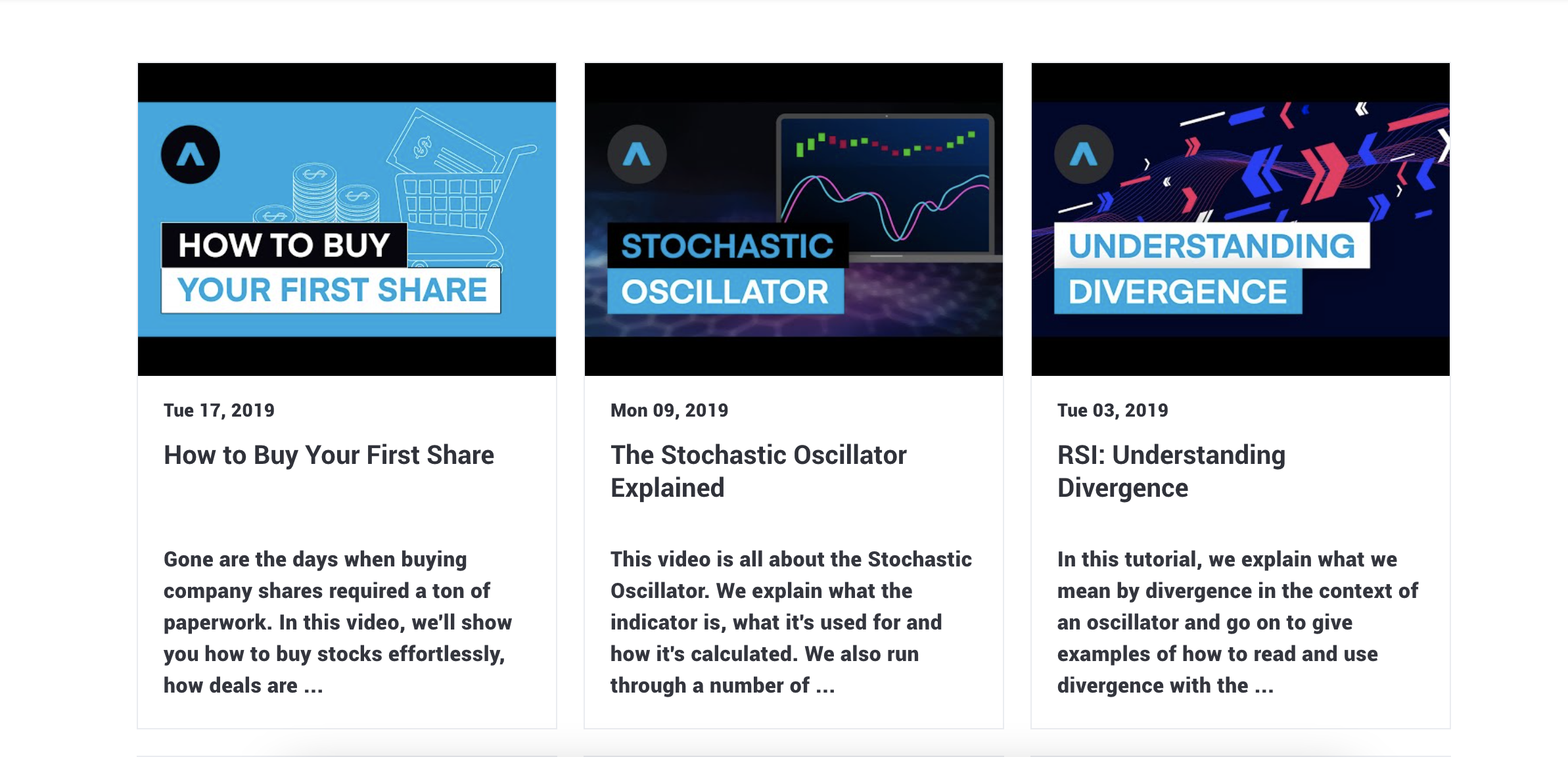 Trading 212 has many educational videos for a range of investor skill levels. Image from trading212.com