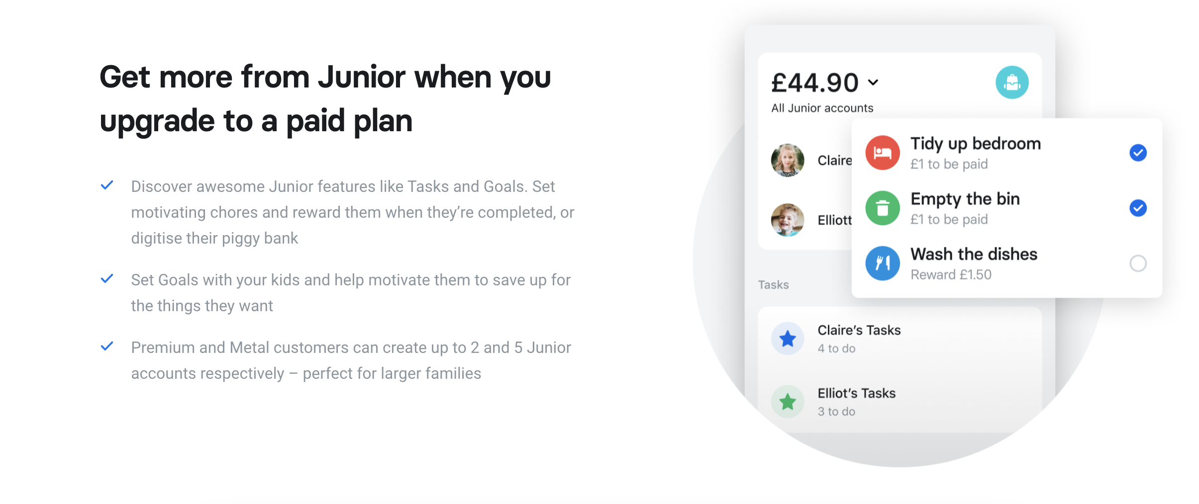 Revolut offers a Junior version of their app designed for teens ages 12-17. Revolut Junior offers many non-financial features, such as making task lists for your child to complete. Revolut says that their app helps kids become more financially savvy so they have good money sense entering adulthood. Image from Revolut.com.