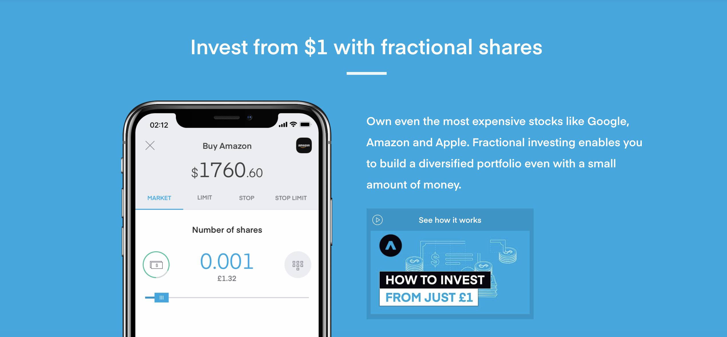 Like many other low-cost mobile trading apps, fractional shares are a cornerstone of investing. Image from trading212.com