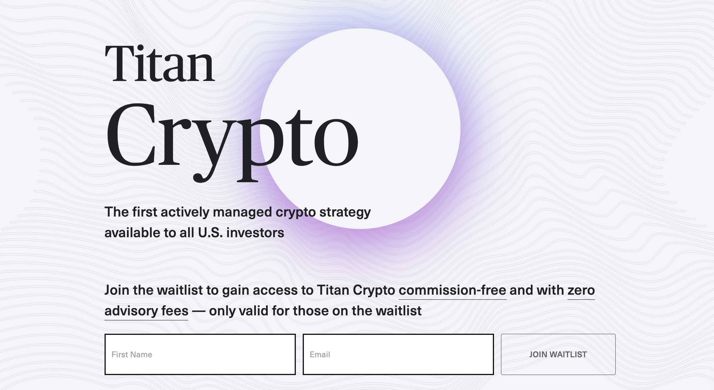 Titan is on the way to offering fully-managed crypto portfolios. With the previously high returns of their stock accounts, we see a bright future for Titan crypto. Image from titan.com/crypto.