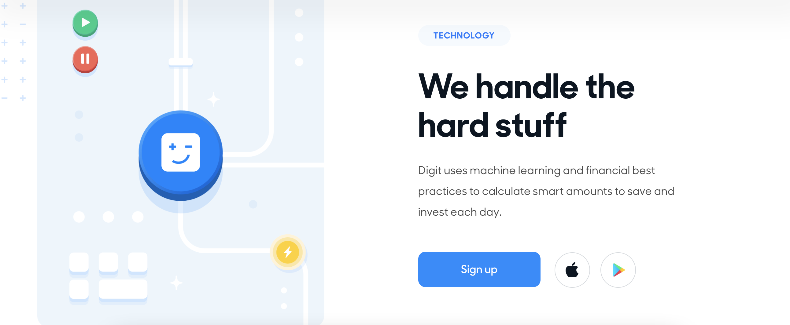 Digit is vague about their algorithm. Their AI withdraws money from your checking account and puts it into your Digit savings account when it determines that you have enough money on hand for bills and daily expenses. Digit strives to be a completely hands-off solution, so the app makes all of the transfer decisions for you. Image from digit.co.