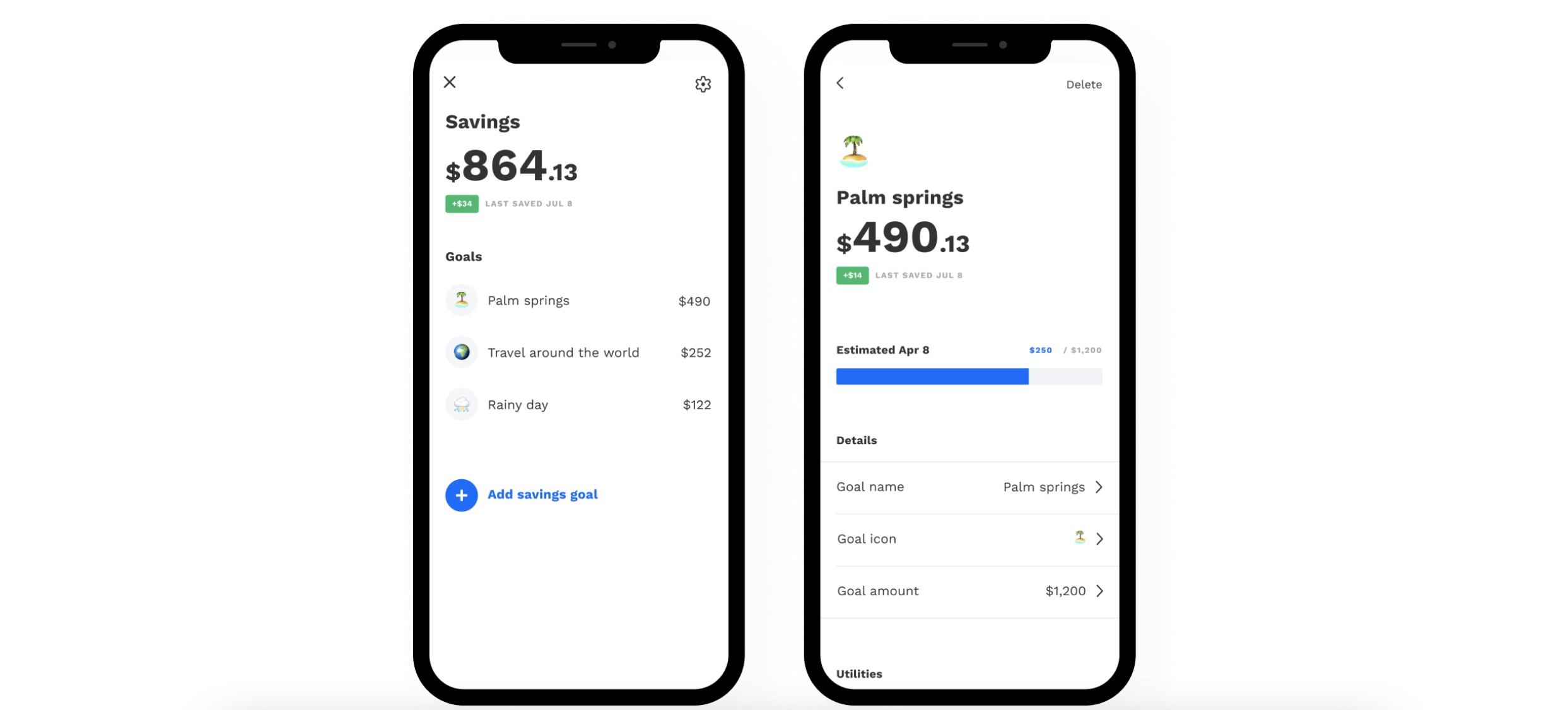 Albert allows users to set savings goals. Once set, Albert uses its algorithm to determine how much money you should put into each savings bucket in order to reach your goals. Albert also helps you set up an emergency fund, or a rainy day fund, so you're never strapped for cash. Image from albert.com.