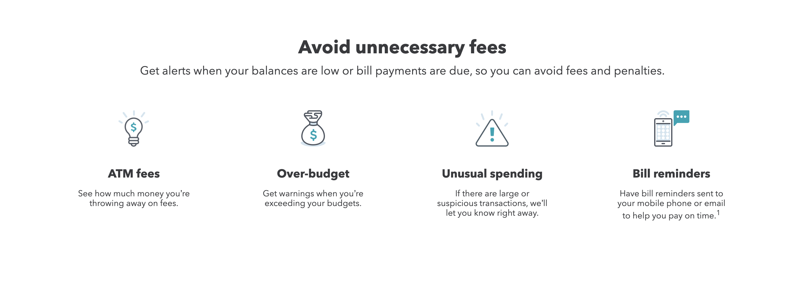 Mint gives users notifications when they're charged hidden fees, when they're about to go over budget, when unusual spending occurs on their account, and when a bill is coming due. Image from mint.intuit.com.