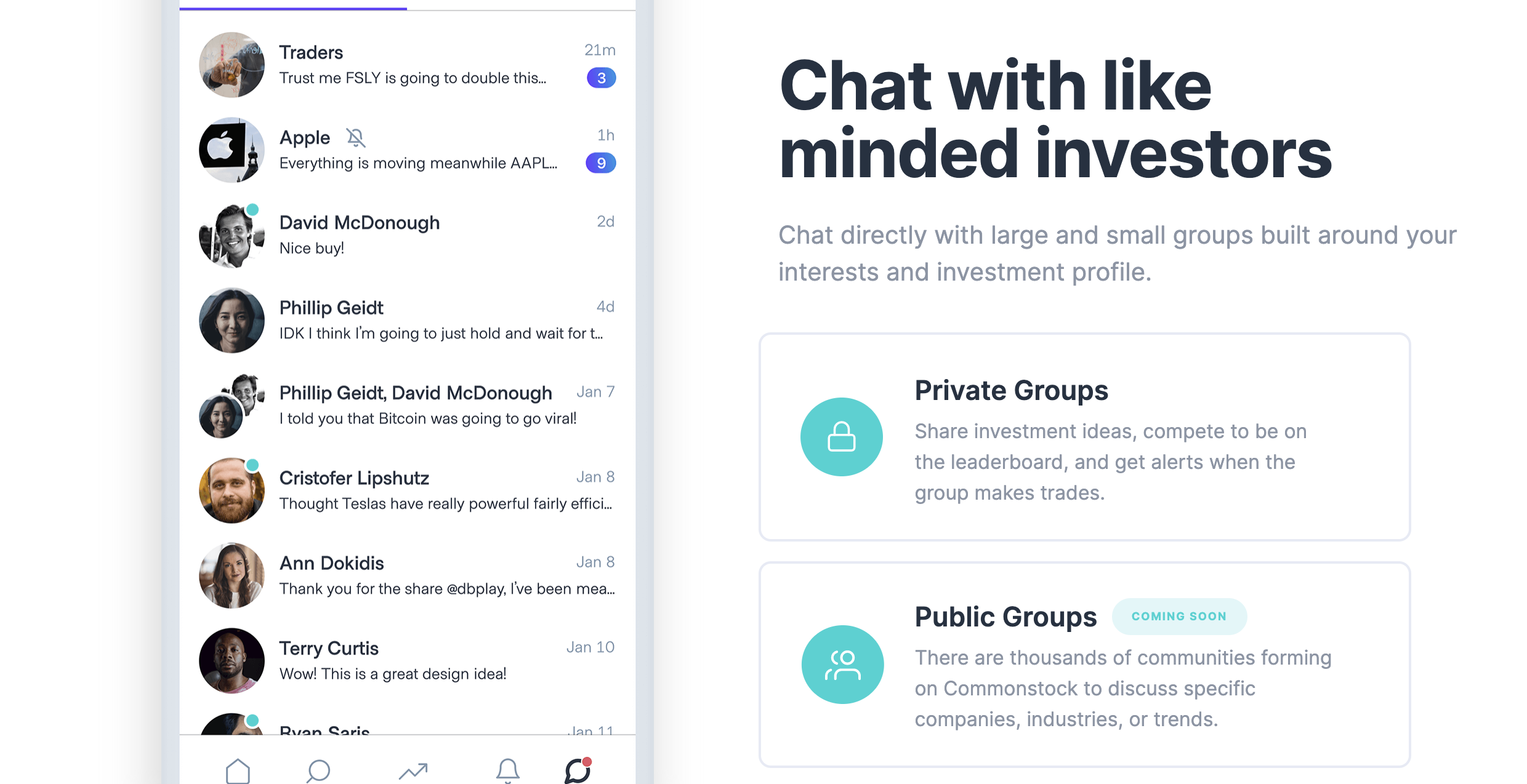 Group chats are another key feature of the app. Learn how to trade and invest by talking with others and learning from their portfolios. Image from commonstock.com.